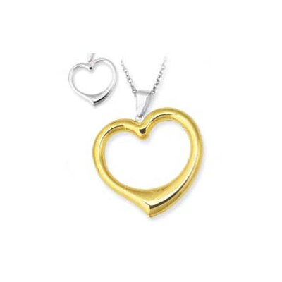 Jewelryweb Sterling Silver and 14k Reversible Heart Pendant- 18 Inch