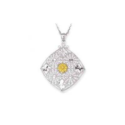 Sterling Silver and 14k Yellow Fancy Pendant- 18 Inch