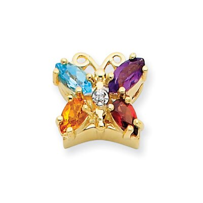 14k .005ct Butterfly Diamond and Rainbow Bracelet Slide