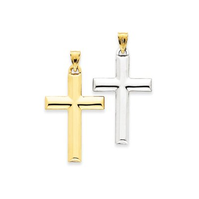 14K and Rhodium Reversible Cross Pendant- Measures 38.1x46.3mm