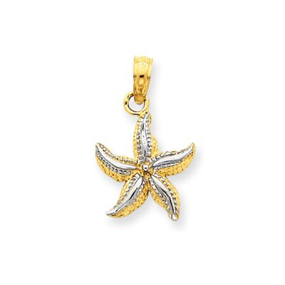 14k and Rhodium Starfish Pendant- Measures 20.2x12.2mm
