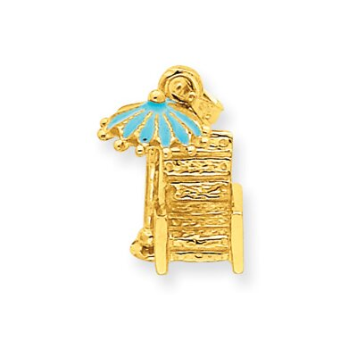 Jewelryweb 14k Aqua Enameled Beach Chair With Umbrella Pendant