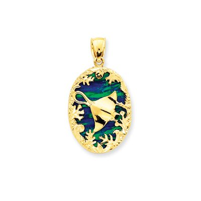 Jewelryweb 14K Created Opal Reversable Stingray Pendant