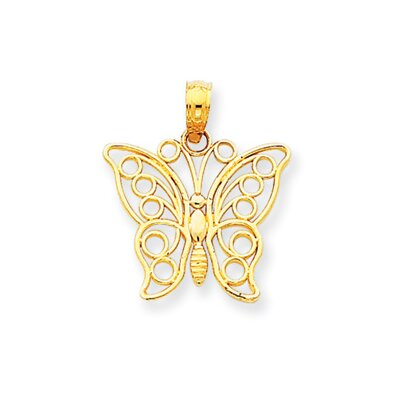 Jewelryweb 14K Cut-out Butterfly Large Pendant