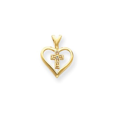 Jewelryweb 14k Diamond Heart and Cross Pendant