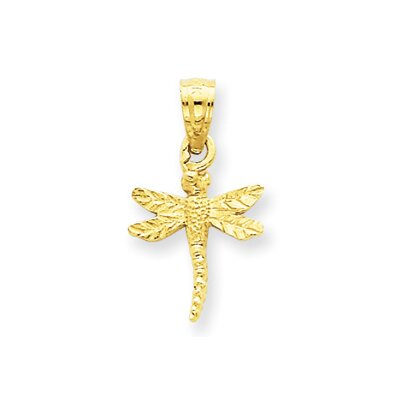 Jewelryweb 14K Dragonfly Pendant- Measures 18.9x10.6mm
