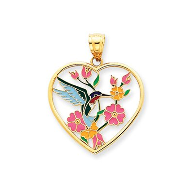 Jewelryweb 14k Enameled Hummingbird With Flowers Heart Pendant