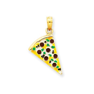 14k Enameled Pizza Slice Pendant