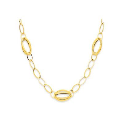 Jewelryweb 14K Fancy Link Oval Necklace - Spring Ring