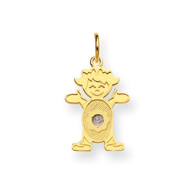 Jewelryweb 14K Girl 2.5mmSynthetic Birthstone Pendant