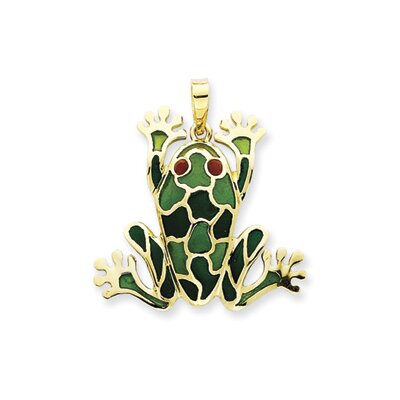 Jewelryweb 14k Green Resin Frog Pendant