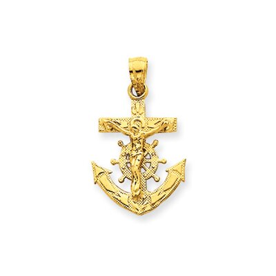 14k Mariners Crucifix Pendant- Measures 24.2x14.5mm