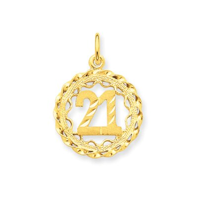 Jewelryweb 14k Number 21 in Circle Pendant