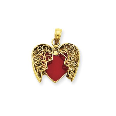 14k Red and White Enameled Reversible Heart Pendant