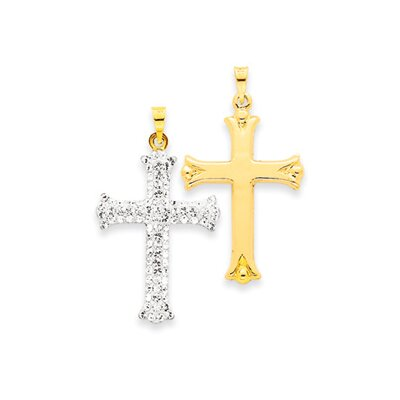 14k Reversible Crystal Cross Pendant- Measures 35x22mm