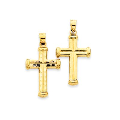 14k Reversible Diamond-Cut Cross Pendant- Measures 35x19mm