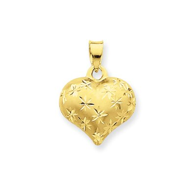 14k Satin and Diamond-Cut Puffed Heart Pendant