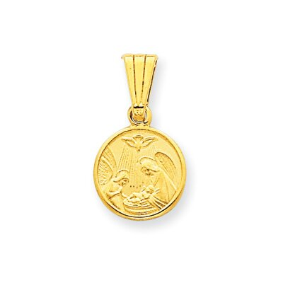 14K Satin Baptism Pendant- Measures 18.5x10.3mm