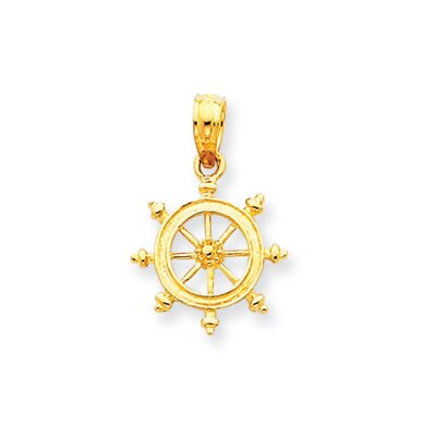 Jewelryweb 14k Ship Wheel Pendant