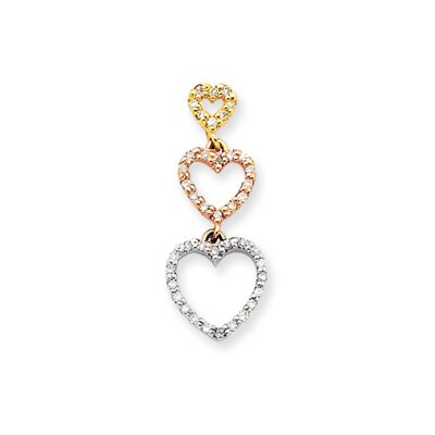 Jewelryweb 14k Tri-color Diamond Heart Pendant