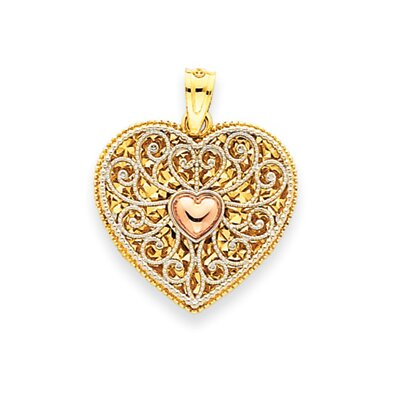 Jewelryweb 14k Tri-color Diamond-Cut Heart Pendant