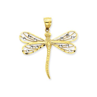 Jewelryweb 14K Two-tone Diamond-Cut Filigree Dragonfly Pendant