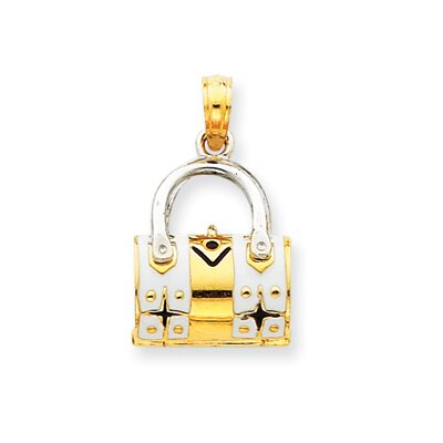 14k Two-tone Gold Enameled Purse Pendant