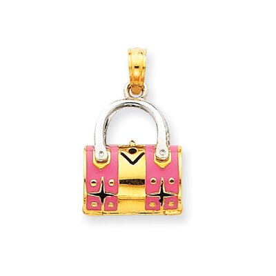 14k Two-tone Pink Enameled Purse Pendant