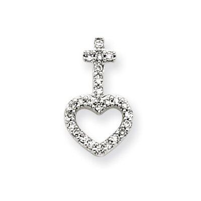 14k White Gold Diamond Heart and Cross Pendant