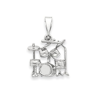 14k White Gold Drum Set Pendant