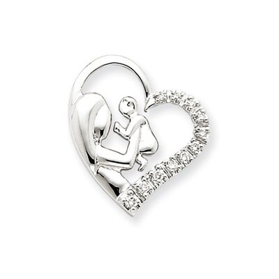 Jewelryweb 14k White Gold Mother and Baby Diamond Heart Pendant