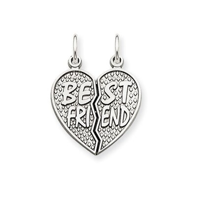Jewelryweb 14k White Gold Polished Best Friend Heart Pendant- Measures 23x17.2mm