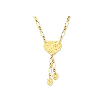 Jewelryweb 14K Yellow Adjustable Heart Drop Necklace - 16 Inch- Spring Ring