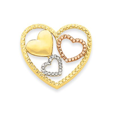 Jewelryweb 14K Yellow Rose and Rhodium Heart Pendant