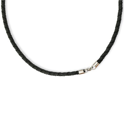 Jewelryweb 4.0mm Genuine Leather Weave Necklace
