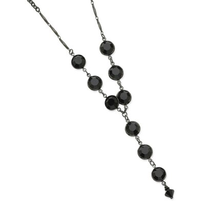Black-plated Faceted Jet Bead Bezel Drop Y 16 Inch Necklace