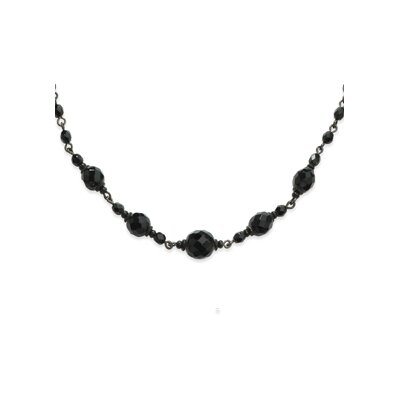 Black-plated Faceted Jet Beaded 15 InchExtension Necklace