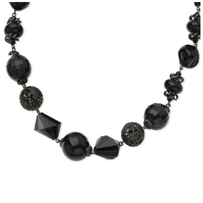 Black-plated Faceted Jet Filigree Bead 16 Inch Necklace