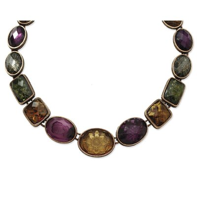 Burnish Copper-tone Multi Color Crystal 17 In Necklace