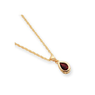 Jewelryweb Gold-plated January Teardrop CZ Necklace - 18 Inch