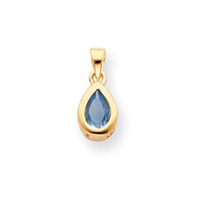 Jewelryweb Gold-plated March Birthstone Teardrop CZ Necklace - 18 Inch