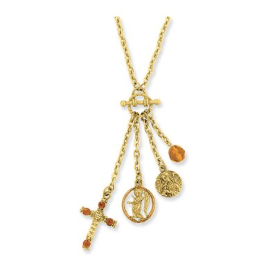 Jewelryweb Gold-tone Cross and Angel Mock Toggle Necklace - 16 Inch