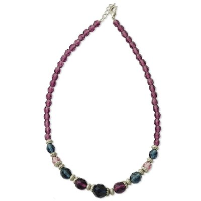 Pewter-tone Dark Purple Blue Crystal Bead 15 Inch Necklace