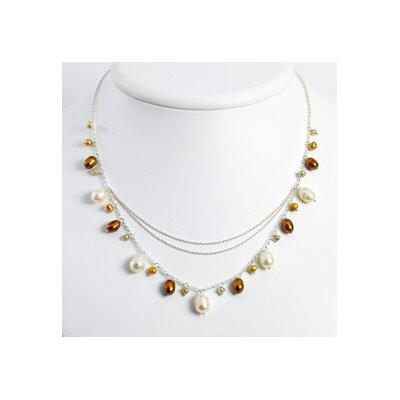 Silver Champagne Golden White Cultured Pearl Necklace - 16 Inch- Lobster Claw