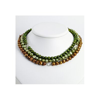 Silver Golden Green Lt Green Cultured Pearl Necklace - 16 Inch- Lobster Claw