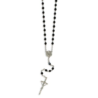 Jewelryweb Silver-tone Black Crystal Crucifix Rosary Necklace - 29 Inch