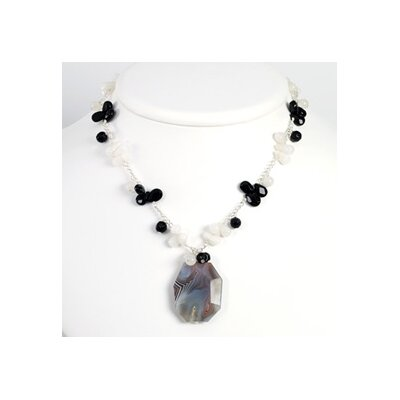 Agate Black Crystal Onyx White Jade Necklace - 16 Inch- Lobster Claw