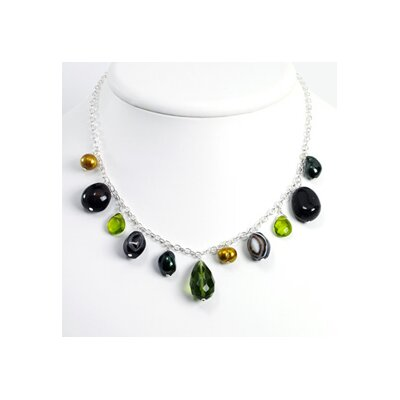 Jewelryweb Blk Banded Agate Green Crystal Cult Pearl Necklace 16 In - Lobster Claw