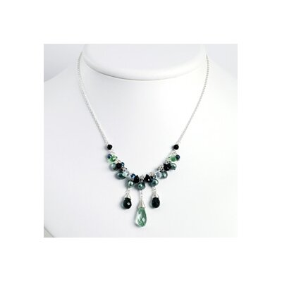 Green Amethyst Onyx Crystals Cult. Pearl Necklace 16 Inch- Lobster Claw