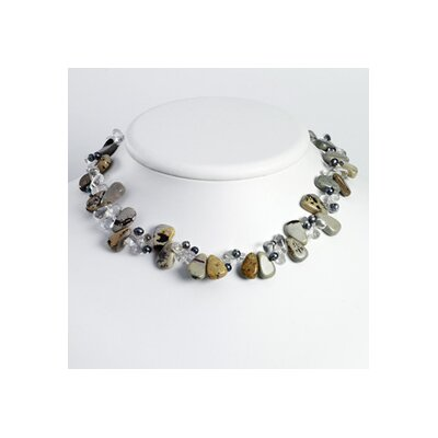 Grey Cult. Pearl Clear Crystal Agate necklace - 16 Inch- Lobster Claw